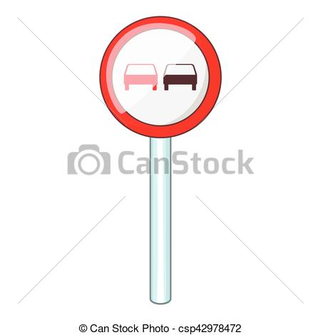 Vectors Illustration of No overtaking road traffic sign icon.