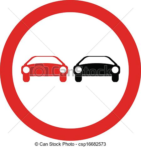Vectors Illustration of No overtaking road sign vector.
