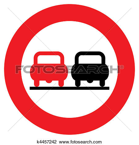Clip Art of No overtaking sign k4457242.