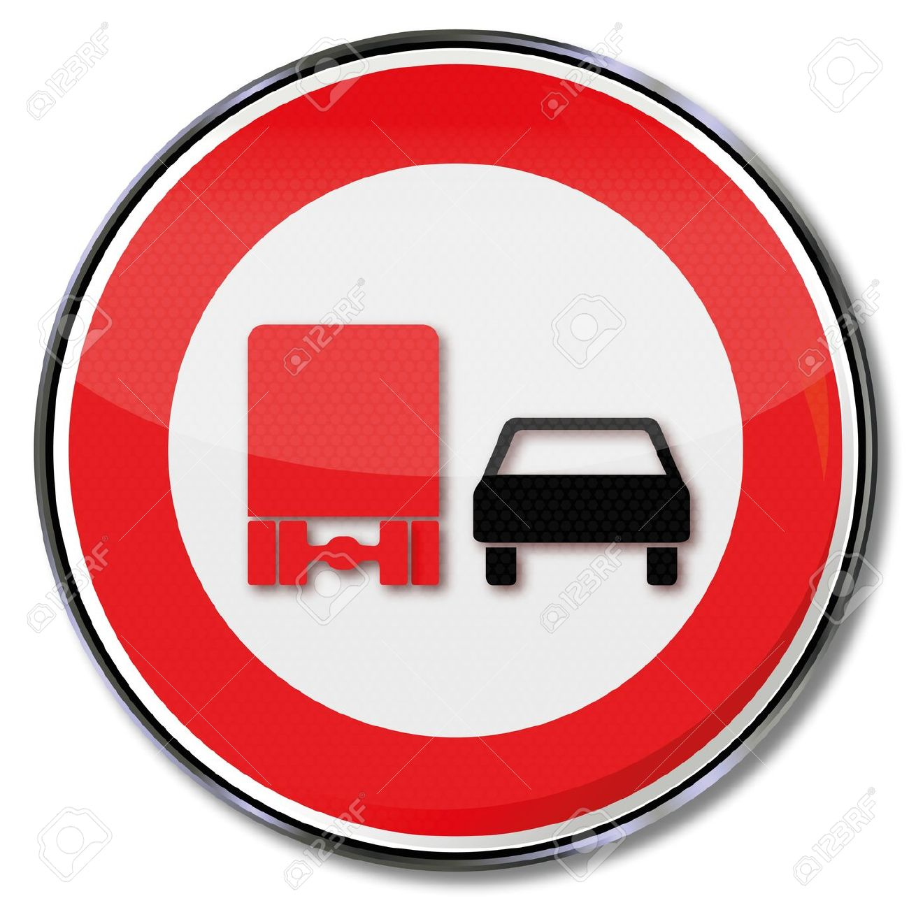 Traffic Sign No Overtaking Trucks Royalty Free Cliparts, Vectors.