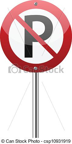 Vector Clip Art of No parking sign on white csp10931919.