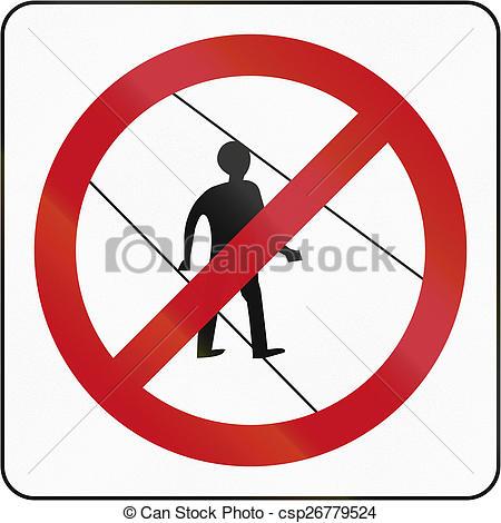 Clip Art of No Pedestrians In Brunei.