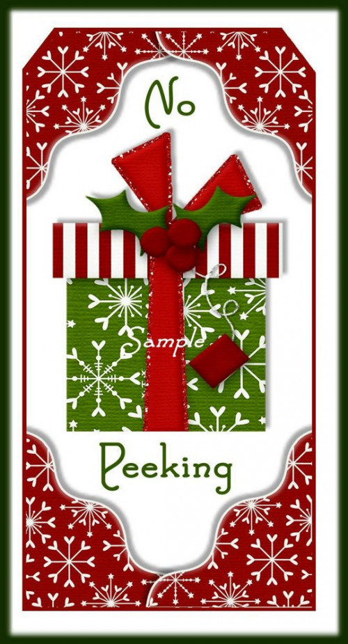 No Peeking Christmas Whimsical Gift Tag Set Digital Download U.