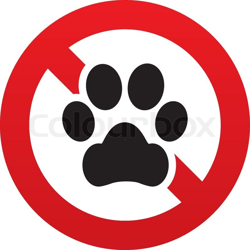 No Dog paw sign icon. Pets symbol. Red.