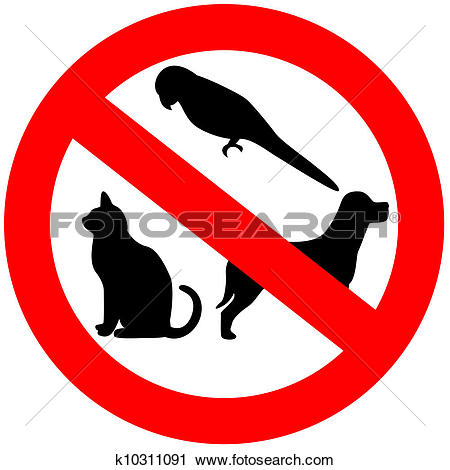 Picture of No dogs / pets allowed, warning sign, isolated round.