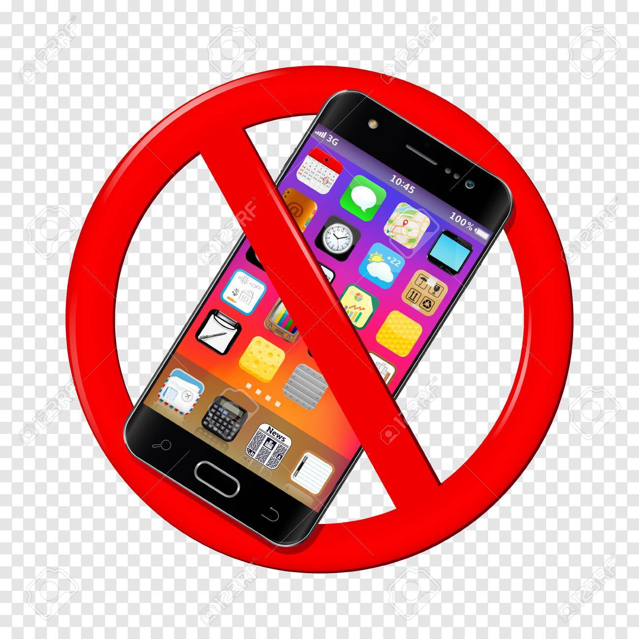 No cell phone sign isolated on transparent illustration..