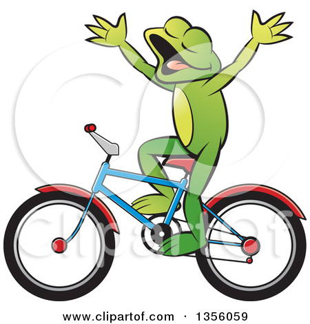 Girl riding bicycle no hands clipart.
