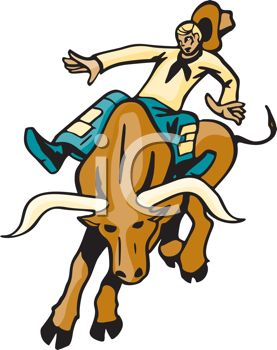 Clip Art Image of a Cowboy Riding a Bull With No Hands. His Hat Is.