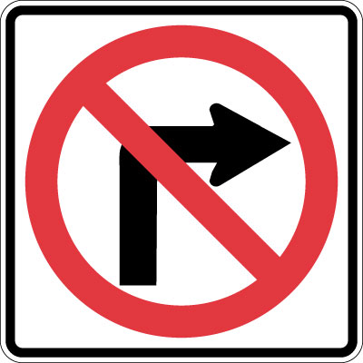 No Right Turn Signs.
