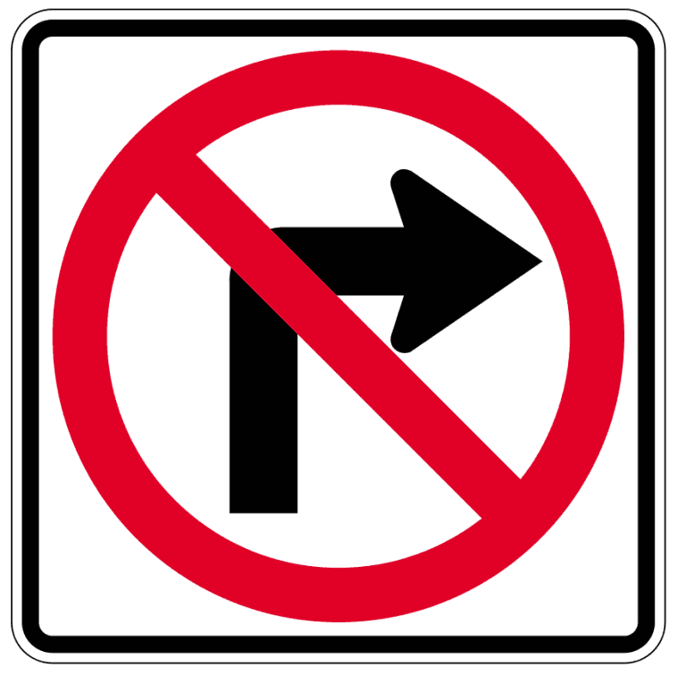 No right-turn clipart #20