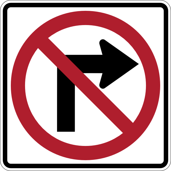 No right-turn clipart #16