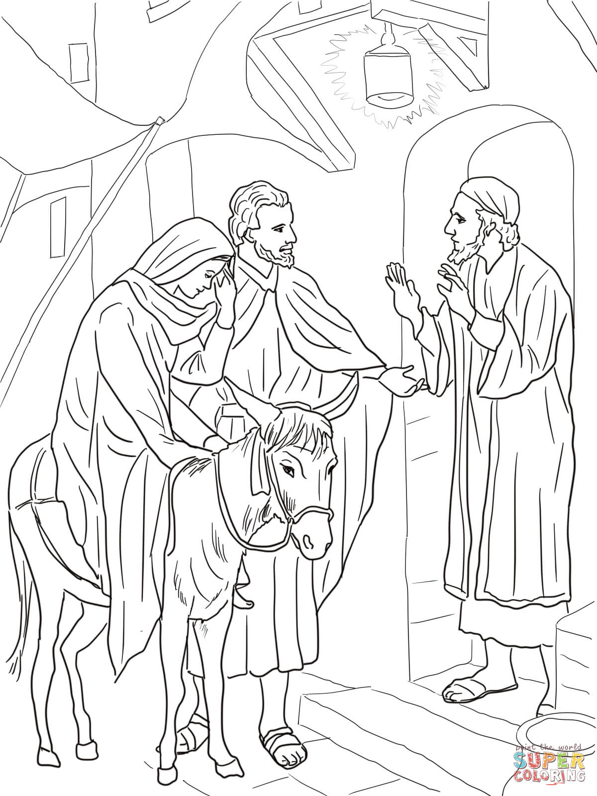 No Room at the Inn for Mary and Joseph coloring page.