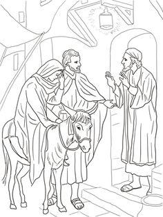 coloring page Bible Christmas Story Kids.