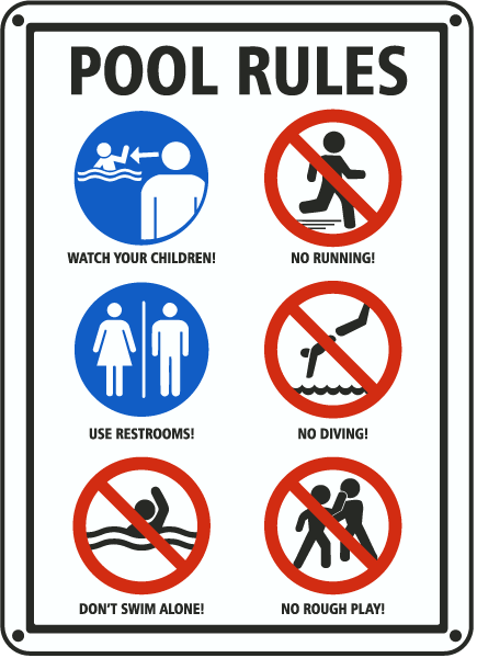 Swimming Pool Rules Clipart.