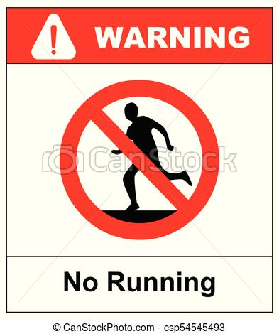Do not run, prohibition sign. Running prohibited, vector illustration..