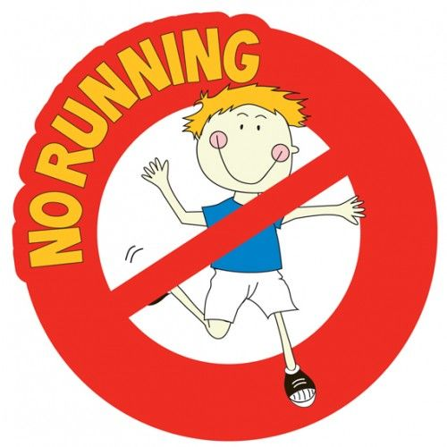 No Running wall sign.