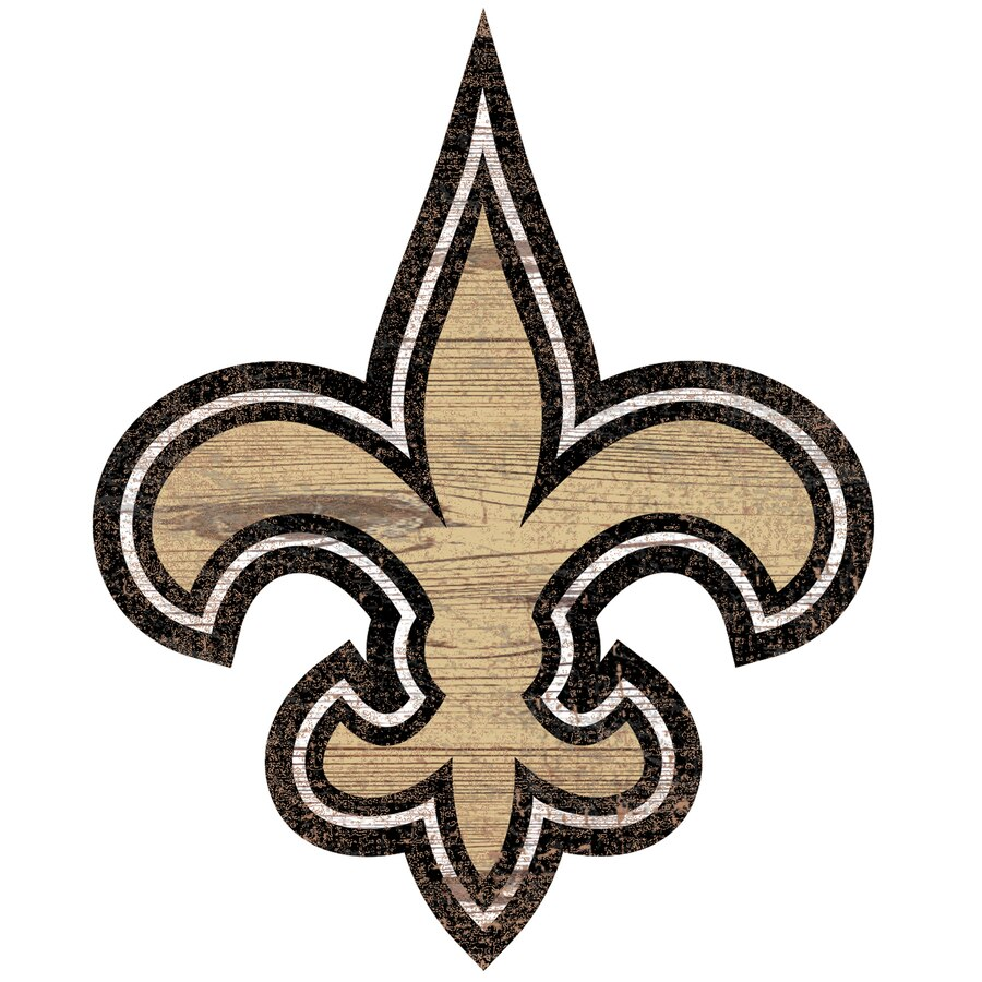 New Orleans Saints 24\'\' x 24\'\' Distressed Logo Cutout Sign.