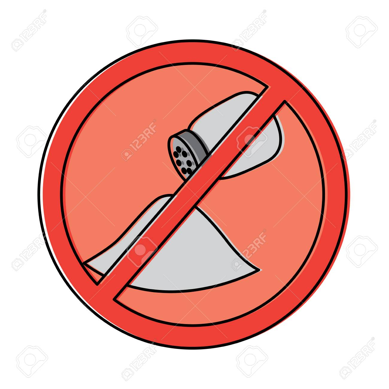 no salt sign prohibition stop symbol vector illustration.
