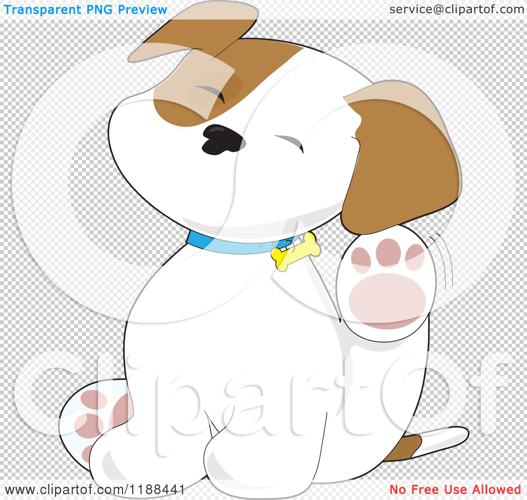 Cartoon of a Cute Puppy Scratching an Itch Behind His Ear.