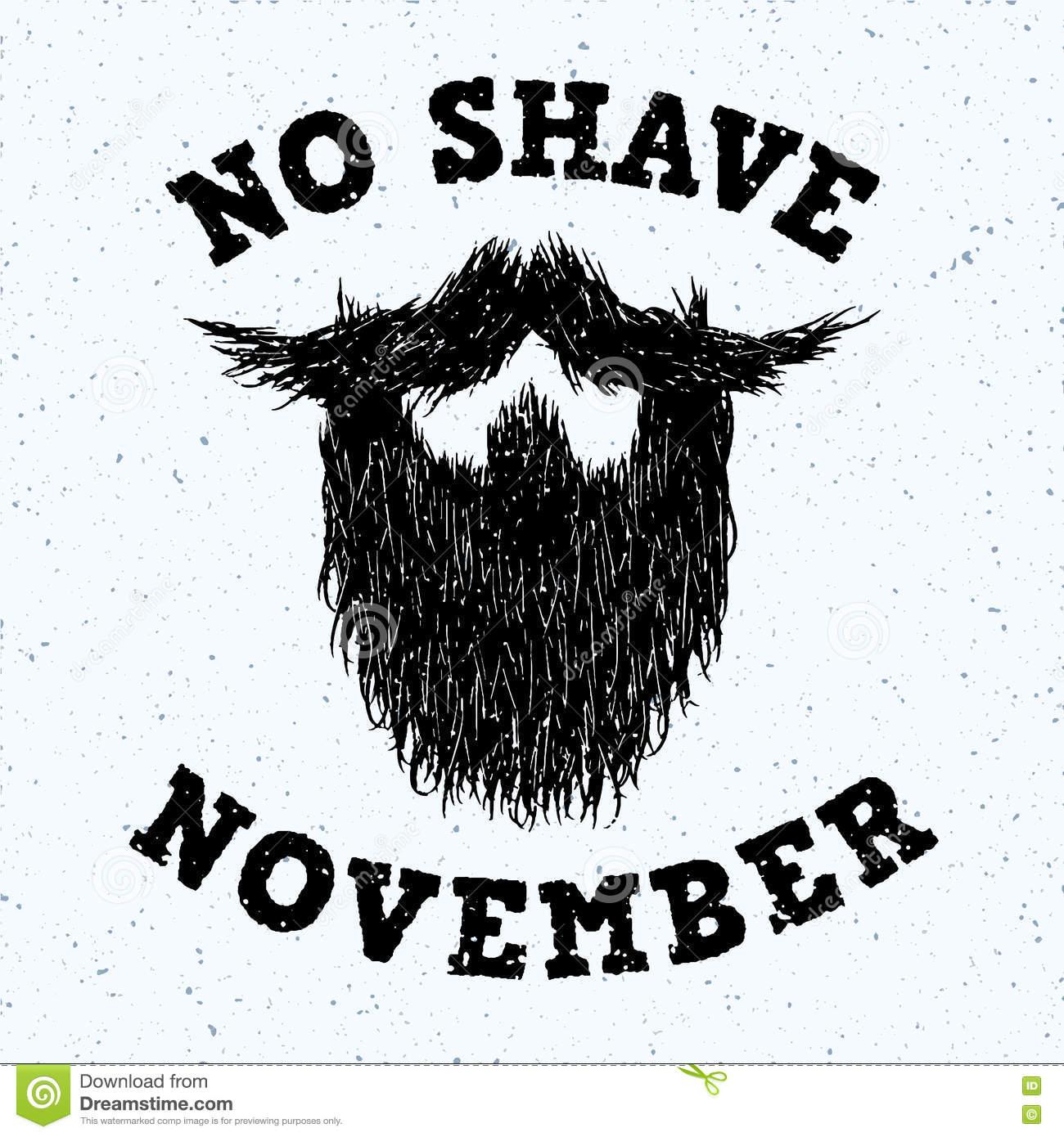 No Shave November Or Movember Illustration Stock Vector.