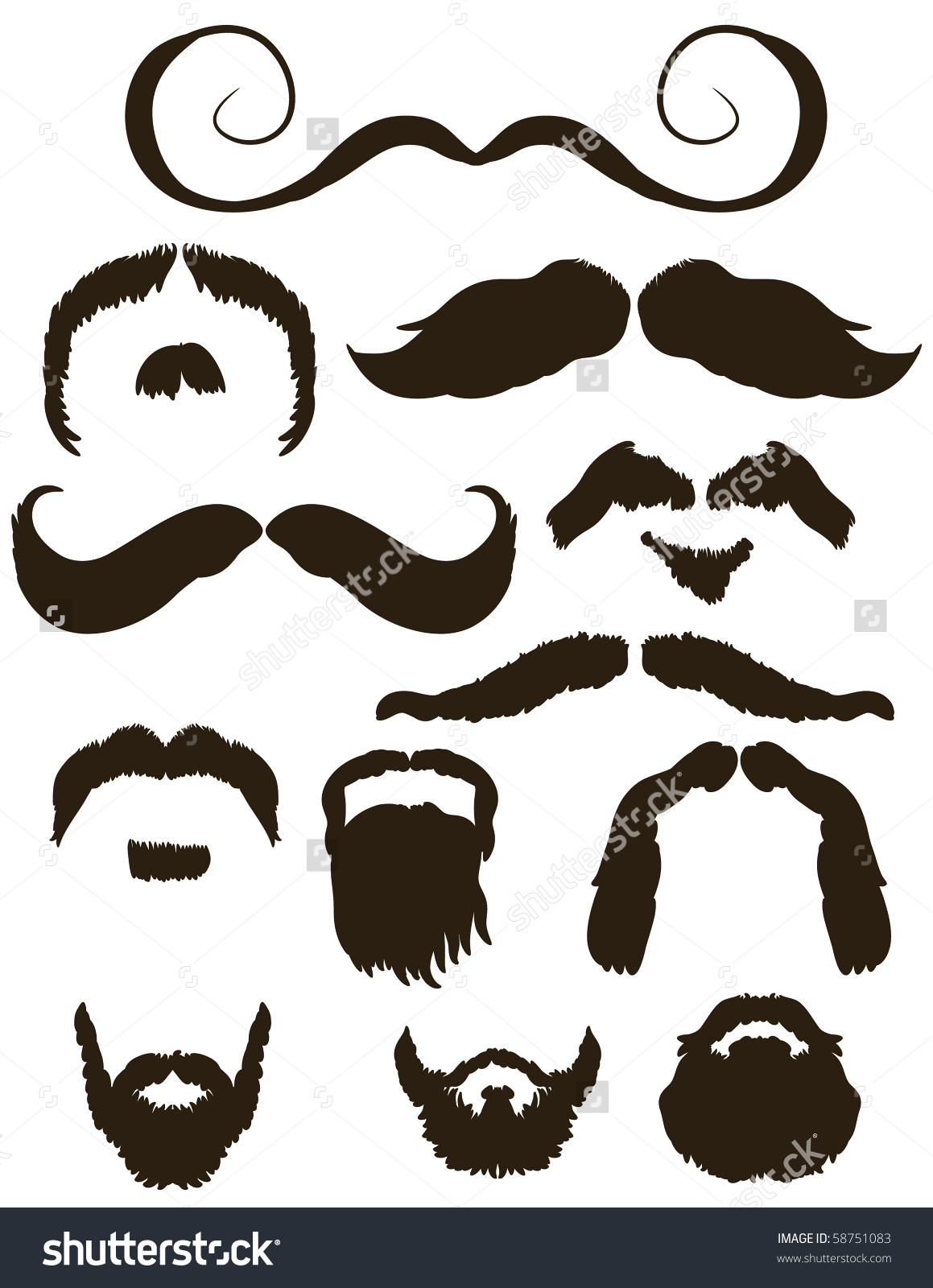 Set Mustache Beard Silhouettes No Shave Stock Vector 58751083.