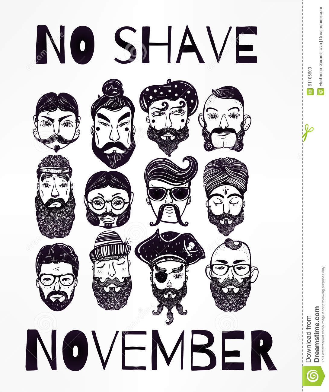 No Shave November Set. Stock Vector.