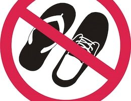 Please take off shoes signs. No shoes sign warning.