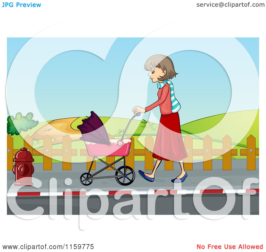 Cartoon of a Mother Walking with a Baby Stroller on a Sidewalk.