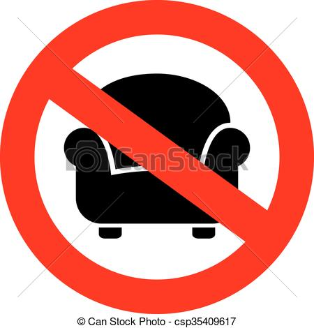 Vector Clip Art of No sitting sign isolated on white background.