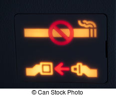 Stock Photo of No smoking sign and seatbelt sign in commercial.