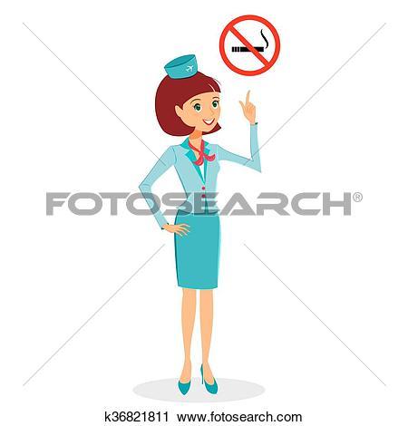 Clipart of Cartoon flight attendant in uniform pointing on No.