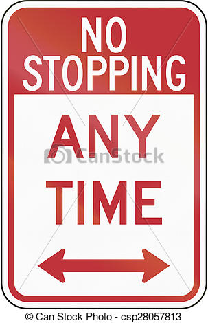 Clipart of No Stopping Any Time.