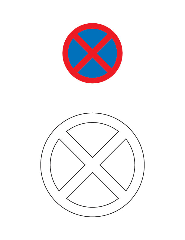 No stopping traffic sign coloring page.
