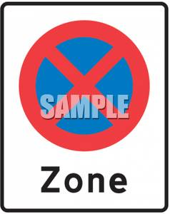No Stopping Or Standing Zone Sign.