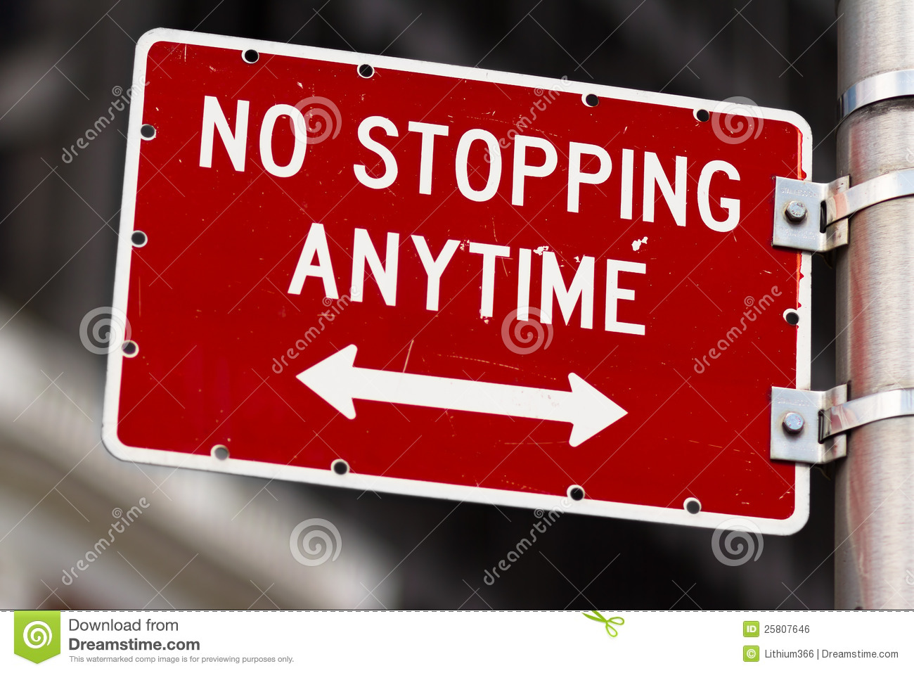 No Stopping Anytime Road Sign Royalty Free Stock Image.