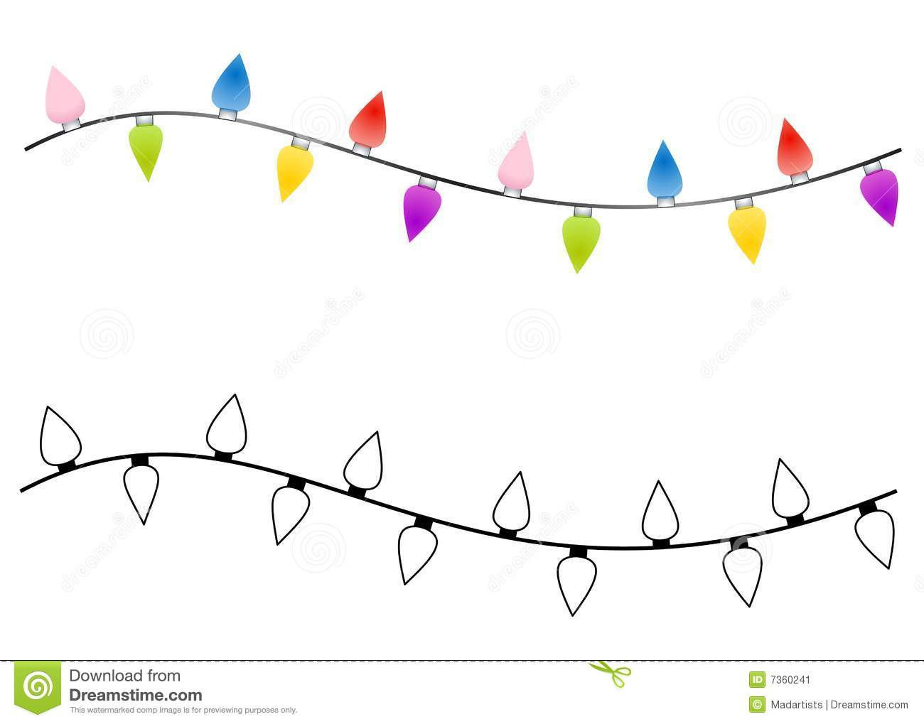 Clipart string of christmas lights.