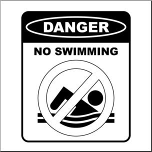 Clip Art: Signs: Danger No Swimming B&W I abcteach.com.