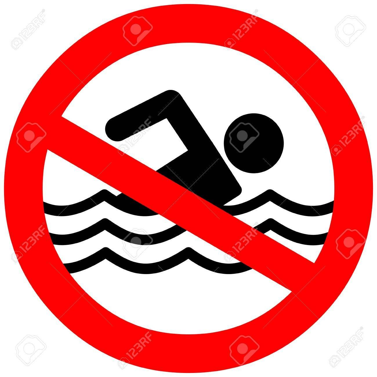No Swimming Clipart.