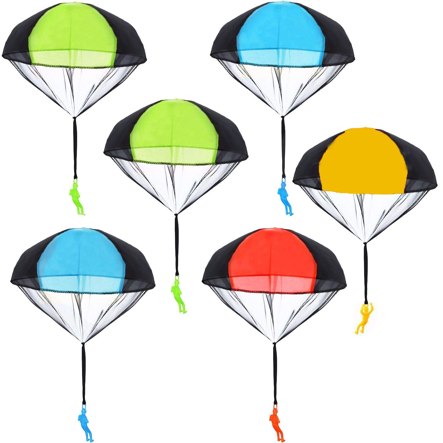 BUYGOO 6PCS Parachute Toys Tangle Free Throwing Hand Throw Parachute Army  Man Toss It Up and Watching Landing Outdoor Toys for Kids.