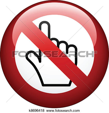 Stock Illustration of caution sign with hand print.