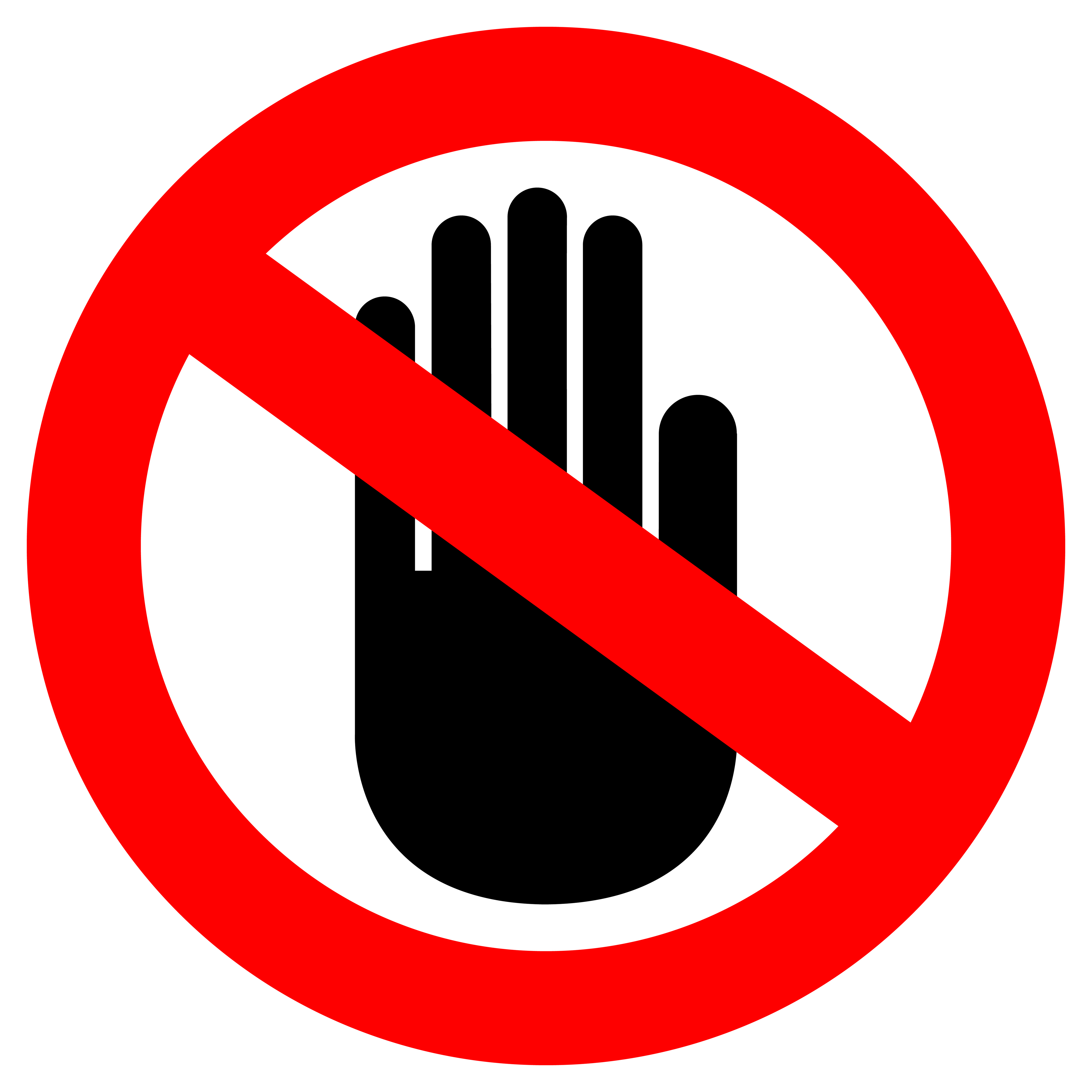 No touch hand clipart.
