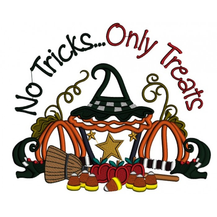 No Tricks Only Treats Halloween Applique Machine Embroidery Design  Digitized Pattern.