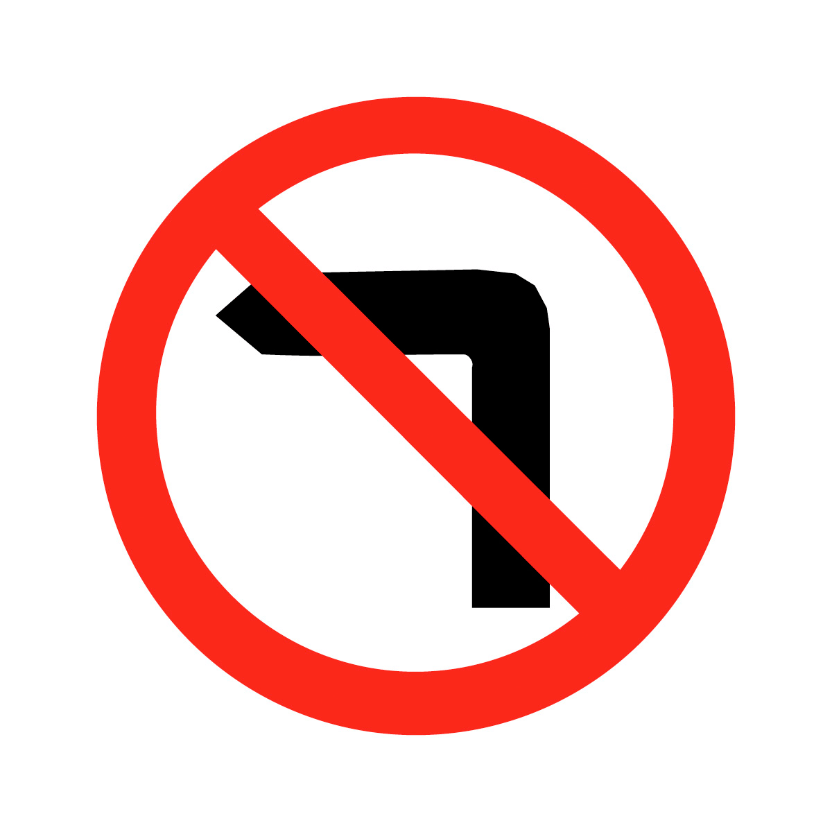 No Left Turn Safety Sign.