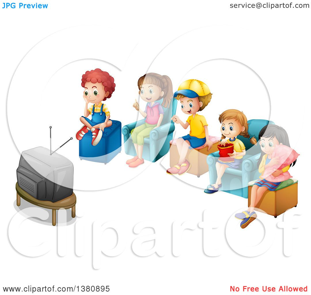 Clipart of Children Watching Tv Together.