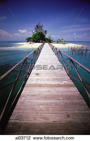 Stock Photo of Indonesia, Batam Island, walkway to No Man's island.