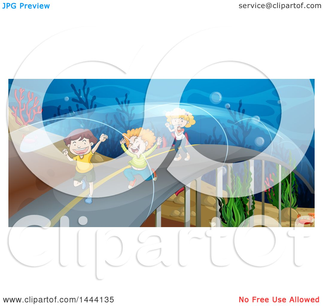 Clipart of a group of children in an aquarium walkway.