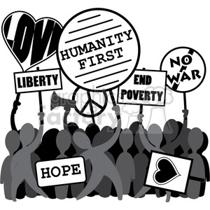 protesting humanity first liberty no war image clipart. Royalty.