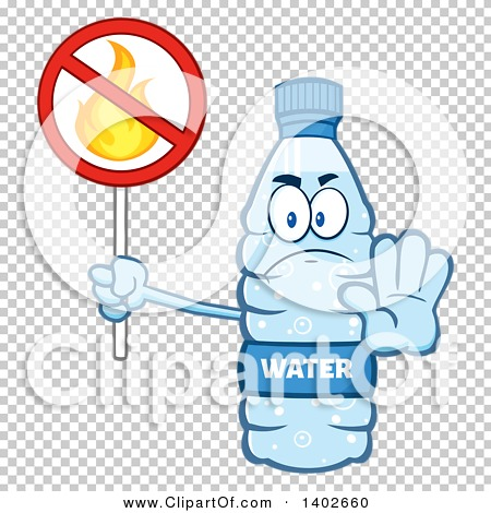 Clipart of a Cartoon Bottled Water Character Mascot Gesturing to.