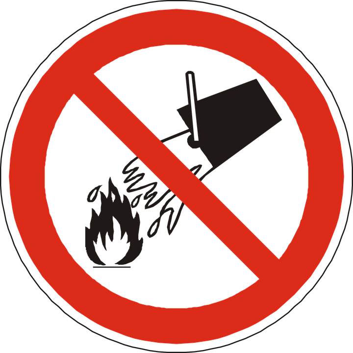 Free vector graphic: No Water On Fire, Prohibited.