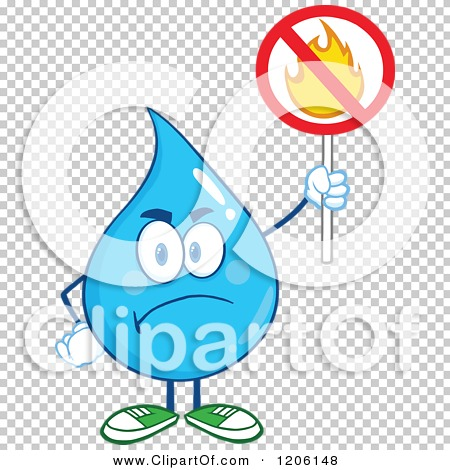Cartoon of a Mad Blue Water Drop Holding a No Fire Sign.